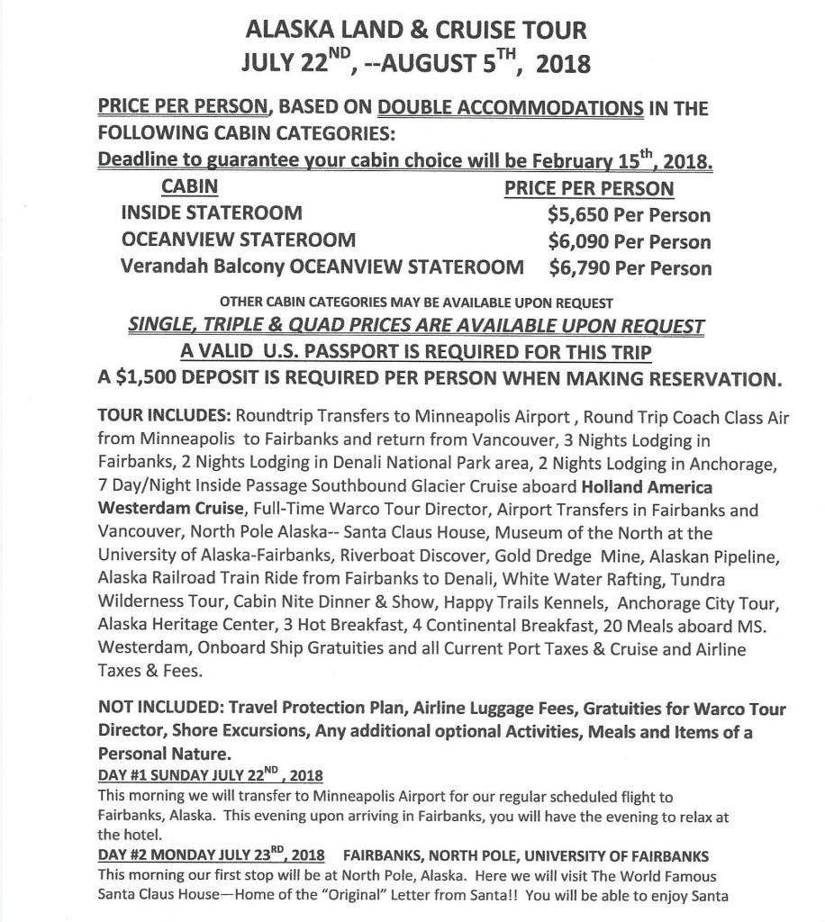 Alaska July2018 Itinerary Pg1